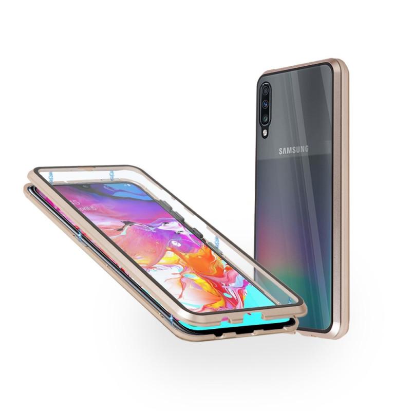 Магнитен 360° калъф от 2 части за Samsung Galaxy A70 със стъкло отпред и отзад, Златист
