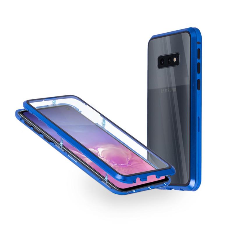 Магнитен 360° калъф от 2 части за Samsung Galaxy S10e със стъкло отпред и отзад, Син