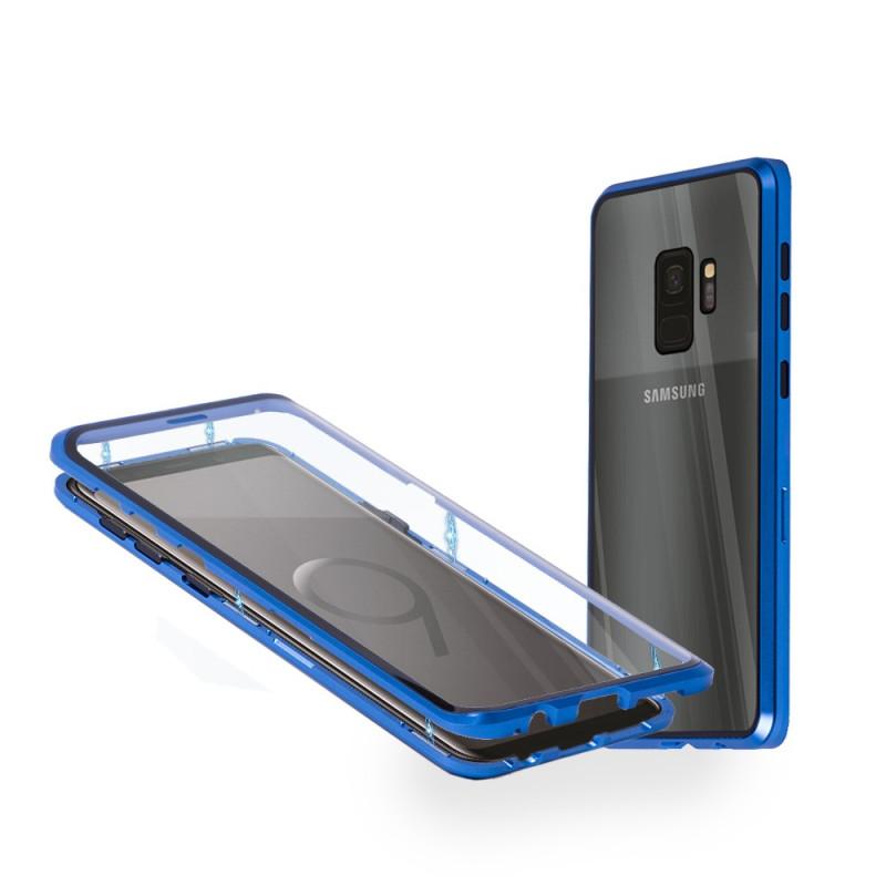 Магнитен 360° калъф от 2 части за Samsung Galaxy S9 със стъкло отпред и отзад, Син