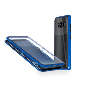 Магнитен 360° калъф от 2 части за Samsung Galaxy S8 със стъкло отпред и отзад, Син