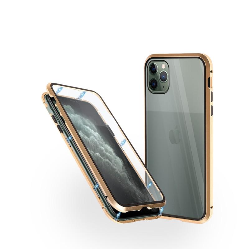 Магнитен 360° калъф от 2 части за iPhone 11 Pro Max със стъкло отпред и отзад, Златист