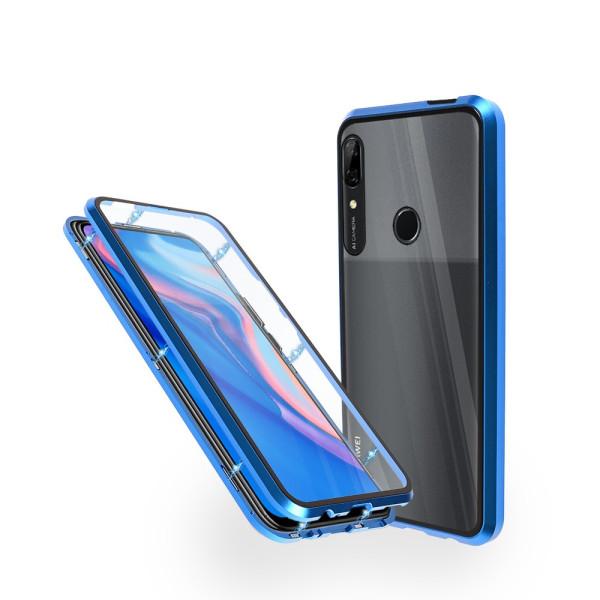 Магнитен 360° калъф от 2 части за Huawei P Smart Z (2019) със стъкло отпред и отзад, Син