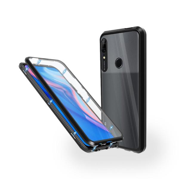 Магнитен 360° калъф от 2 части за Huawei P Smart Z (2019) със стъкло отпред и отзад, Черен
