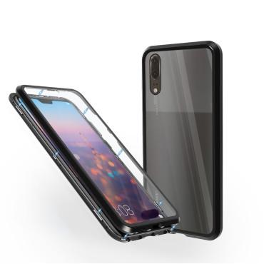 Магнитен 360° калъф от 2 части за Huawei P20 със стъкло отпред и отзад, Черен