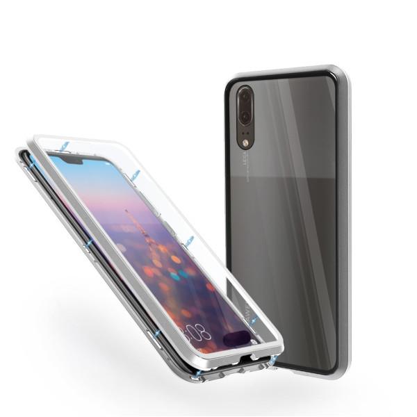 Магнитен 360° калъф от 2 части за Huawei P20 със стъкло отпред и отзад, Сребрист