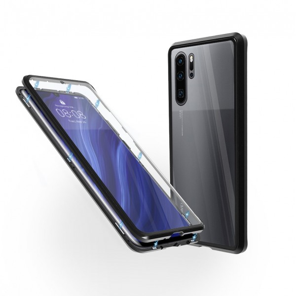 Магнитен 360° калъф от 2 части за Huawei P30 Pro със стъкло отпред и отзад, Черен
