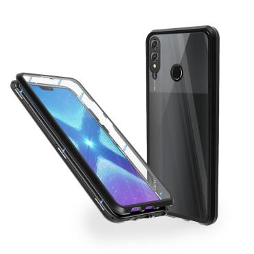 Магнитен 360° калъф от 2 части за Huawei Honor 8X със стъкло отпред и отзад, Черен