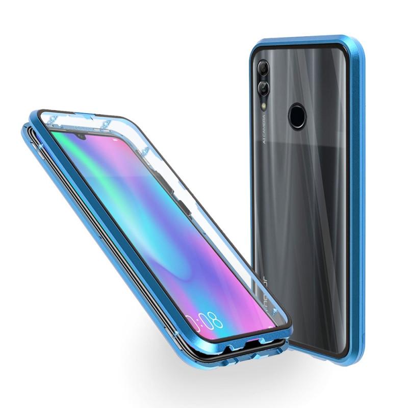 Магнитен 360° калъф от 2 части за Huawei Honor 10 Lite със стъкло отпред и отзад, Син