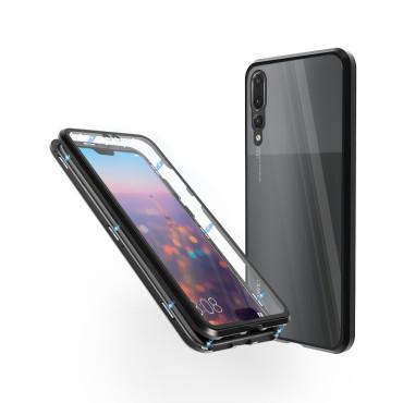 Магнитен 360° калъф от 2 части за Huawei P20 Pro със стъкло отпред и отзад, Черен