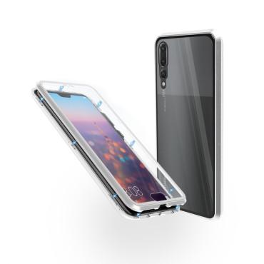 Магнитен 360° калъф от 2 части за Huawei P20 Pro със стъкло отпред и отзад, Сребрист
