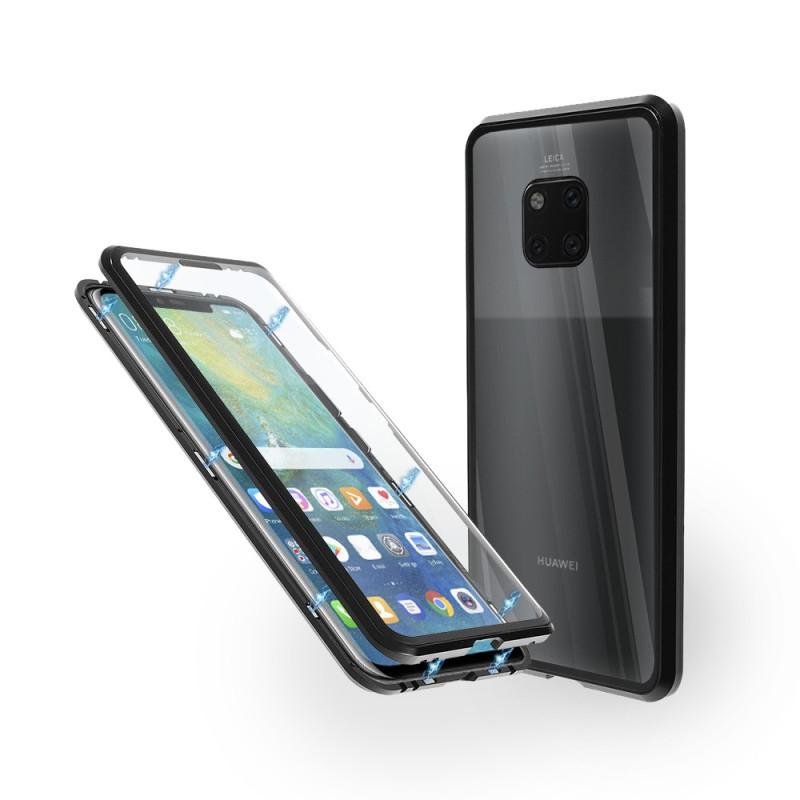 Магнитен 360° калъф от 2 части за Huawei Mate 20 Pro със стъкло отпред и отзад, Черен