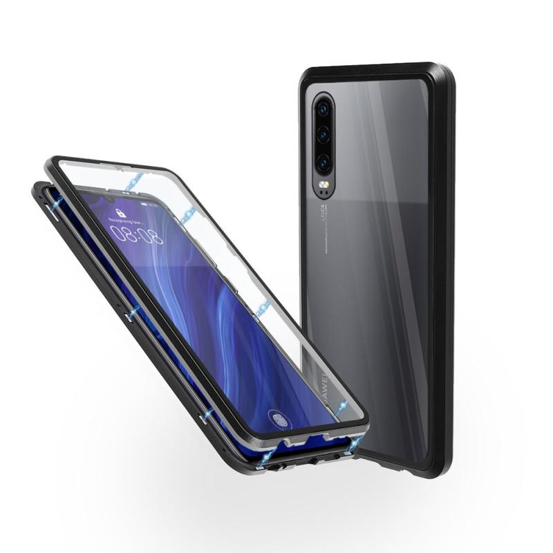 Магнитен 360° калъф от 2 части за Huawei P30 със стъкло отпред и отзад, Черен