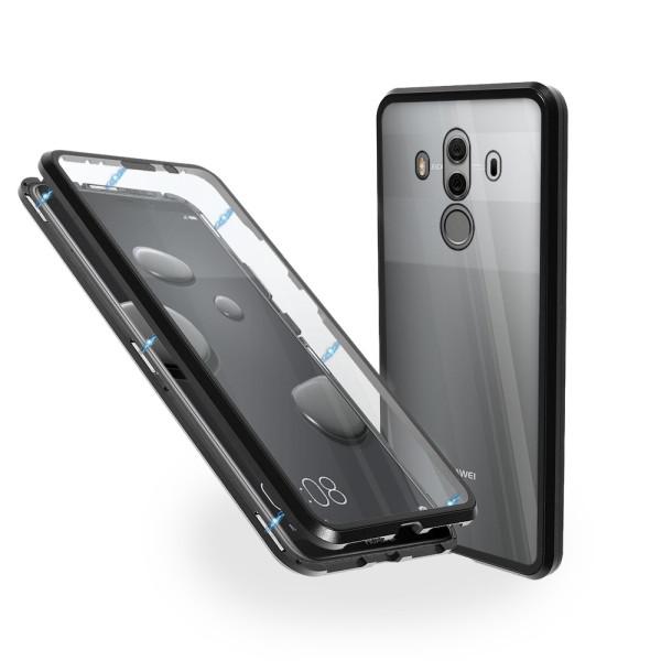 Магнитен 360° калъф от 2 части за Huawei Mate 10 Pro със стъкло отпред и отзад, Черен