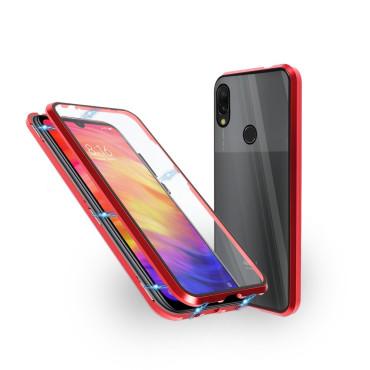 Магнитен 360° калъф от 2 части за Xiaomi Redmi Note 7 Pro със стъкло отпред и отзад, Червен