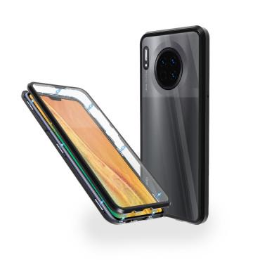 Магнитен 360° калъф от 2 части за Huawei Mate 30 със стъкло отпред и отзад, Черен