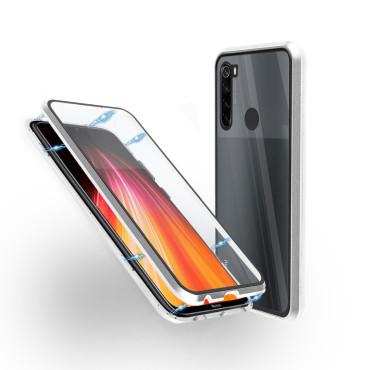Магнитен 360° калъф от 2 части за Xiaomi Redmi Note 8 със стъкло отпред и отзад, Сребрист