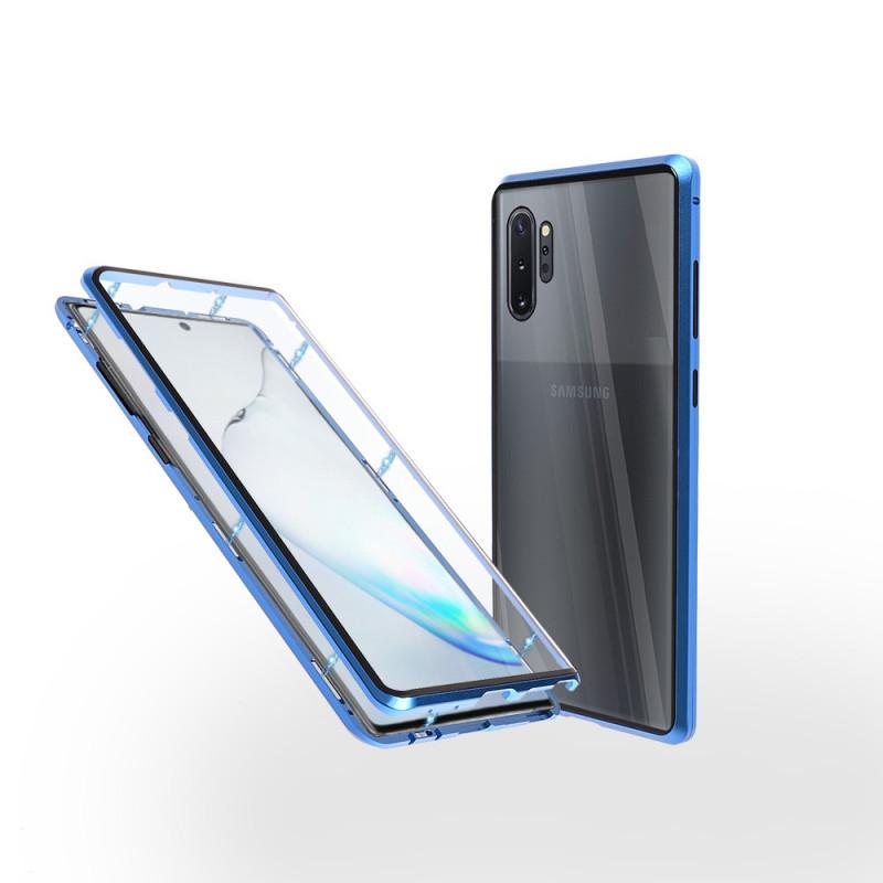 Магнитен 360° калъф от 2 части за Samsung Galaxy Note 10 Plus със стъкло отпред и отзад, Син