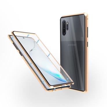 Магнитен 360° калъф от 2 части за Samsung Galaxy Note 10 Plus със стъкло отпред и отзад, Златист
