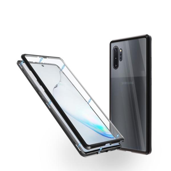 Магнитен 360° калъф от 2 части за Samsung Galaxy Note 10 Plus със стъкло отпред и отзад, Черен