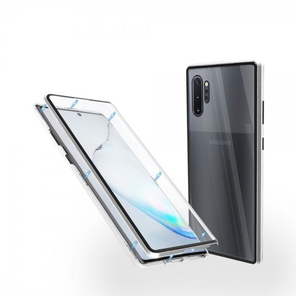 Магнитен 360° калъф от 2 части за Samsung Galaxy Note 10 Plus със стъкло отпред и отзад, Сребрист