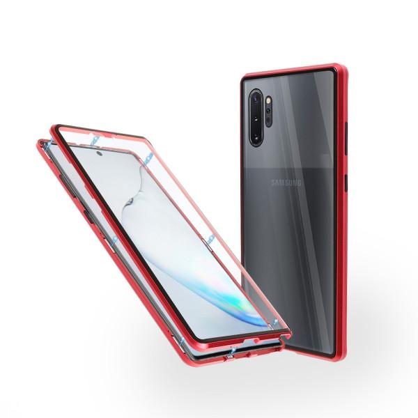 Магнитен 360° калъф от 2 части за Samsung Galaxy Note 10 Plus със стъкло отпред и отзад, Червен