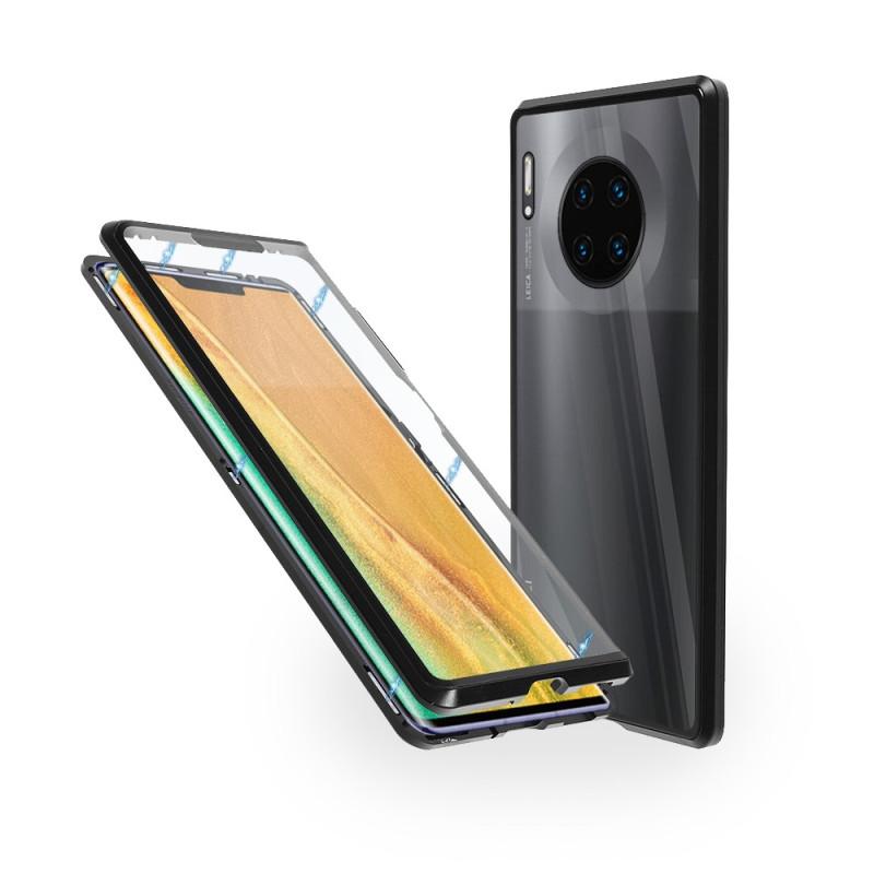 Магнитен 360° калъф от 2 части за Huawei Mate 30 Pro със стъкло отпред и отзад, Черен