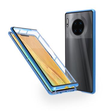Магнитен 360° калъф от 2 части за Huawei Mate 30 Pro със стъкло отпред и отзад, Син