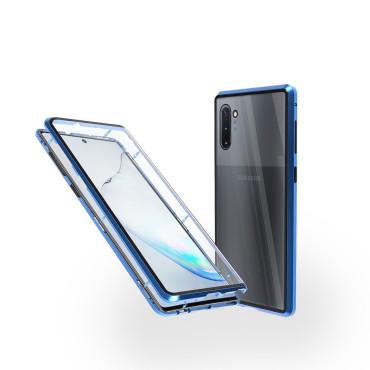 Магнитен 360° калъф от 2 части за Samsung Galaxy Note 10 със стъкло отпред и отзад, Син