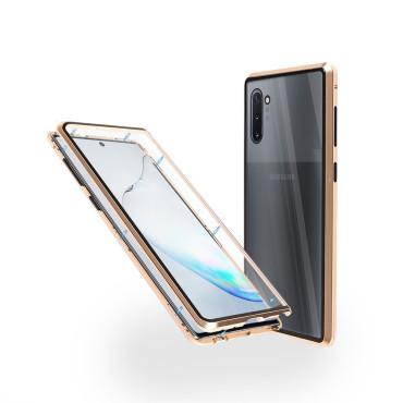 Магнитен 360° калъф от 2 части за Samsung Galaxy Note 10 със стъкло отпред и отзад, Златист