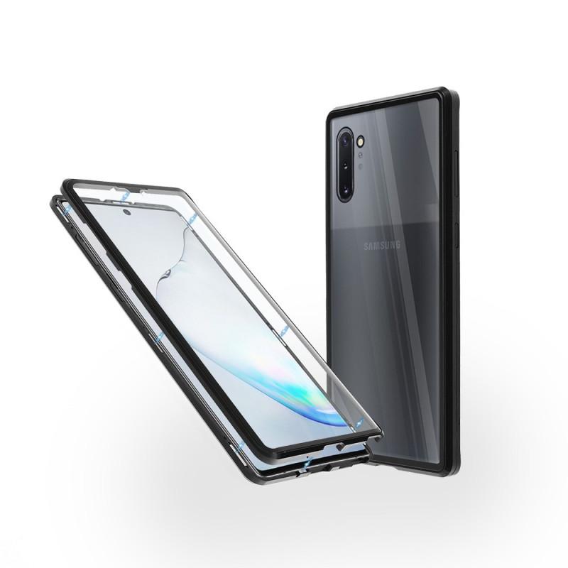 Магнитен 360° калъф от 2 части за Samsung Galaxy Note 10 със стъкло отпред и отзад, Черен