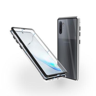 Магнитен 360° калъф от 2 части за Samsung Galaxy Note 10 със стъкло отпред и отзад, Сребрист