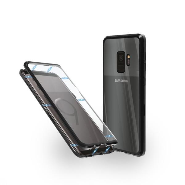 Магнитен 360° калъф от 2 части за Samsung Galaxy S9 със стъкло отпред и отзад, Черен