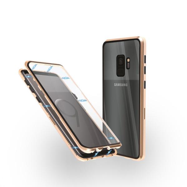 Магнитен 360° калъф от 2 части за Samsung Galaxy S9 със стъкло отпред и отзад, Златист