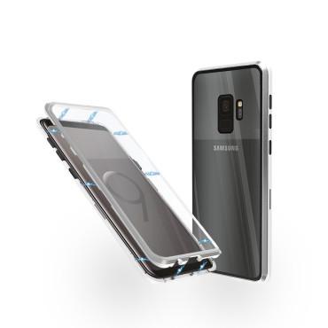 Магнитен 360° калъф от 2 части за Samsung Galaxy S9 със стъкло отпред и отзад, Сребрист