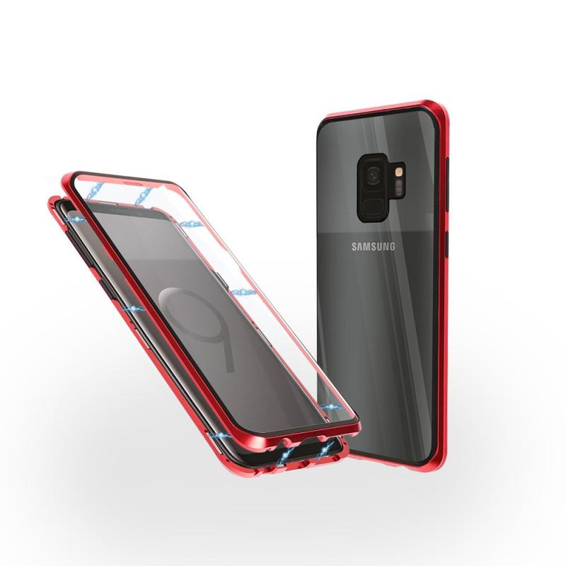 Магнитен 360° калъф от 2 части за Samsung Galaxy S9 със стъкло отпред и отзад, Червен