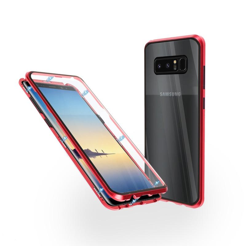 Магнитен 360° калъф от 2 части за Samsung Galaxy Note 8 със стъкло отпред и отзад, Червен