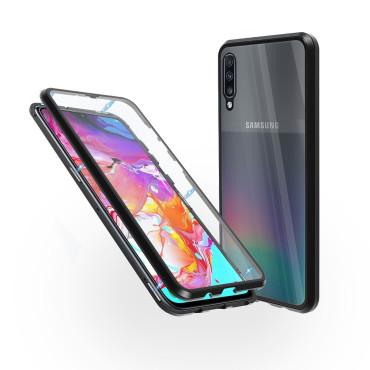 Магнитен 360° калъф от 2 части за Samsung Galaxy A70 със стъкло отпред и отзад, Черен