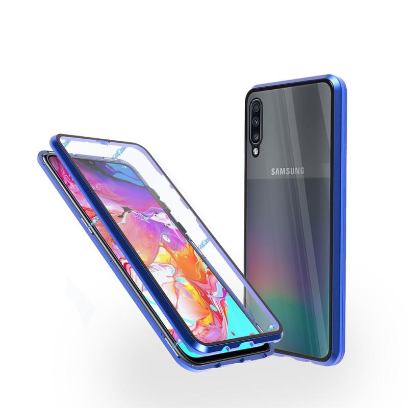 Магнитен 360° калъф от 2 части за Samsung Galaxy A70 със стъкло отпред и отзад, Син