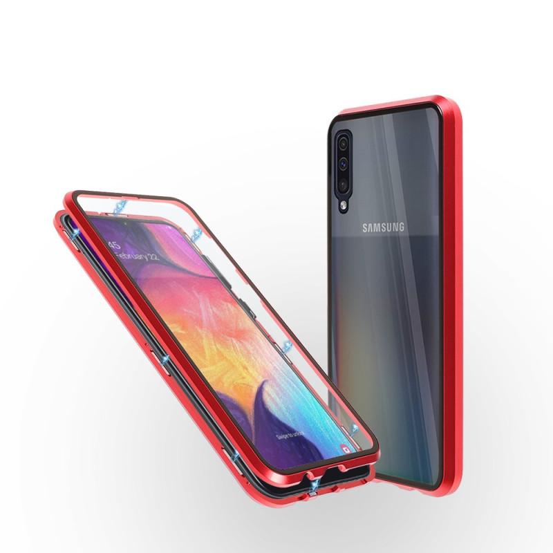 Магнитен 360° калъф от 2 части за Samsung Galaxy A50 със стъкло отпред и отзад, Червен