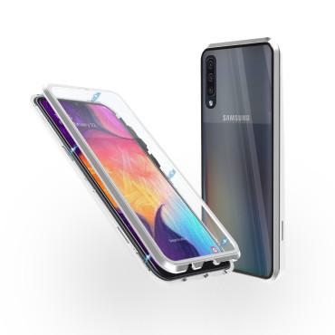Магнитен 360° калъф от 2 части за Samsung Galaxy A50 със стъкло отпред и отзад, Сребрист