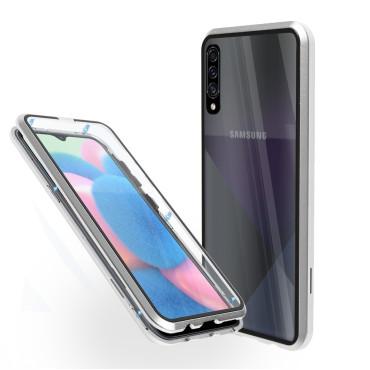 Магнитен 360° калъф от 2 части за Samsung Galaxy A30s със стъкло отпред и отзад, Сребрист