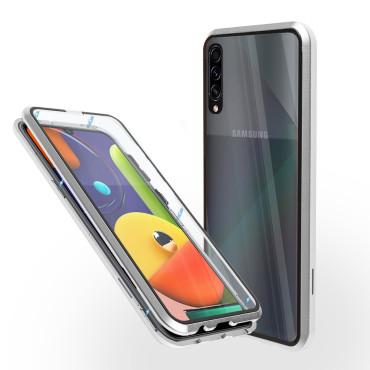Магнитен 360° калъф от 2 части за Samsung Galaxy A50s със стъкло отпред и отзад, Сребрист