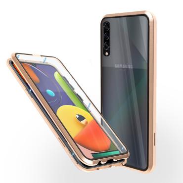 Магнитен 360° калъф от 2 части за Samsung Galaxy A50s със стъкло отпред и отзад, Златист