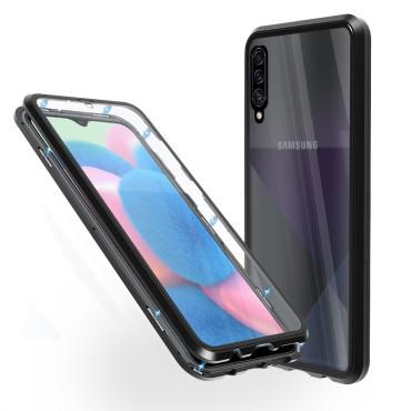 Магнитен 360° калъф от 2 части за Samsung Galaxy A30s със стъкло отпред и отзад, Черен