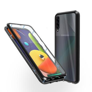 Магнитен 360° калъф от 2 части за Samsung Galaxy A50s със стъкло отпред и отзад, Черен