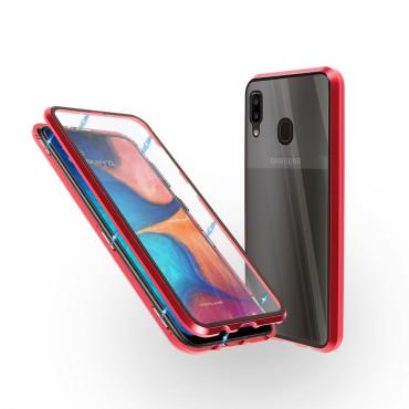 Магнитен 360° калъф от 2 части за Samsung Galaxy A20 със стъкло отпред и отзад, Червен