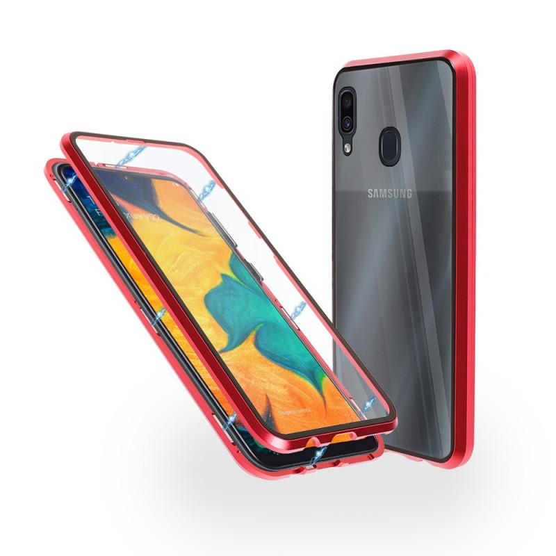 Магнитен 360° калъф от 2 части за Samsung Galaxy A30 със стъкло отпред и отзад, Червен