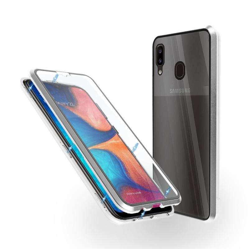 Магнитен 360° калъф от 2 части за Samsung Galaxy A20 със стъкло отпред и отзад, Сребрист