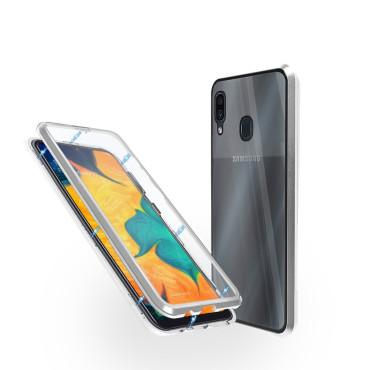 Магнитен 360° калъф от 2 части за Samsung Galaxy A30 със стъкло отпред и отзад, Сребрист