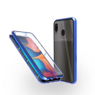 Магнитен 360° калъф от 2 части за Samsung Galaxy A20 със стъкло отпред и отзад, Син